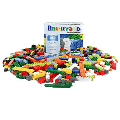 Brickyard Building Blocks Building Bricks - 550 Pieces Compatible Toys Bulk Block Set with 77 Roof Pieces, Free Brick Separator, and Reusable Storage Box with Handle (550 pcs): Toys & Games