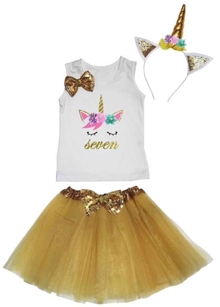 Leaf Sison Unicorn Birthday Shirt Gold Tutu Headband Costume 1-10y (Seven, 6-8 Year)