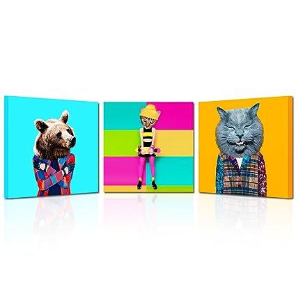 amazon com kreative arts 3 pieces colorful contemporary art