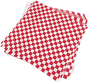 YARNOW 100PCS Fast Food Basket Liners Checkered Sandwich Paper Wrapping Sheets Red White Deli Sheets for Hamburger Pizza Fried Food
