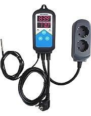 Inkbird 2 Relais 100-240V Digital Thermostat Chauffage pour Serre Joints, Terrarium Plante,Pompe de Brassage,Incubateur Reptile,Régulateur de Température Jour et Nuit + 2m NTC Sonde