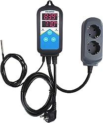 Inkbird Double Relay 220 V Temperaturregler mit Sensor K/ühlung Heizung Digital Thermostat f/ür Warmwasserbereiter Pumpe