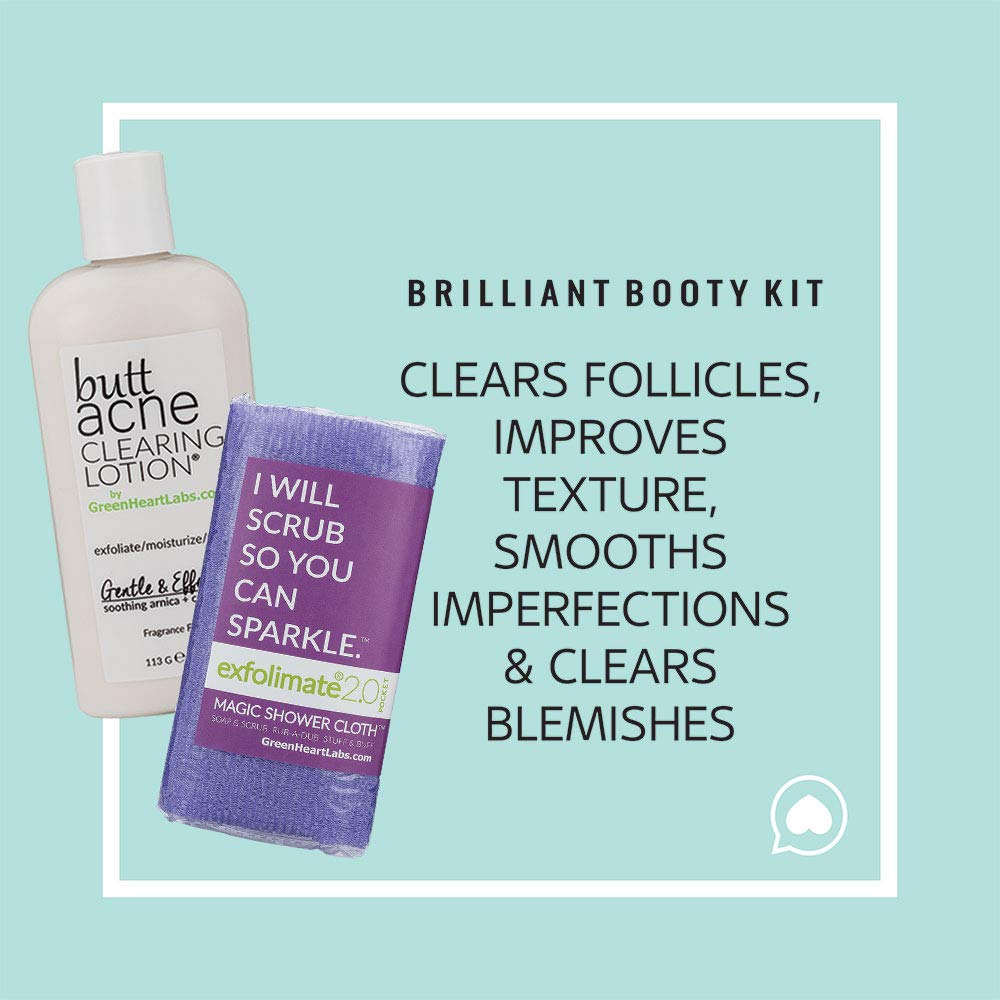 Brilliant Booty Kit Butt Acne Clearing Lotion and ExfoliMATE Magic Body Exfoliating Cloth for Soft Young Skin Purple