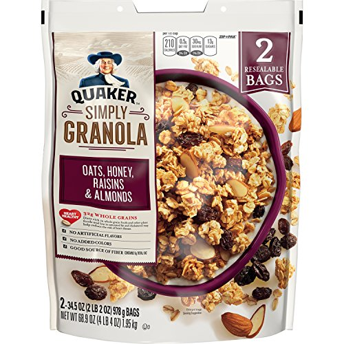 - Quaker Natural Granola Oats, Honey, Raisins and Almonds - Two 34.5oz Bags