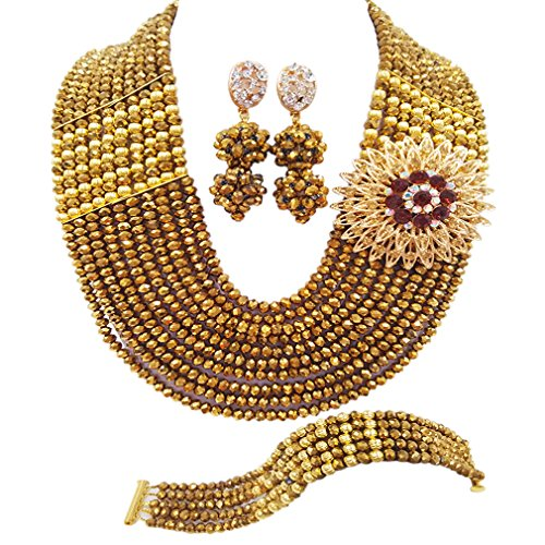 aczuv Nigerian Jewelry for Women African Wedding Necklace Set Crystal Beaded Bridal Jewelry Sets (Golden Color)