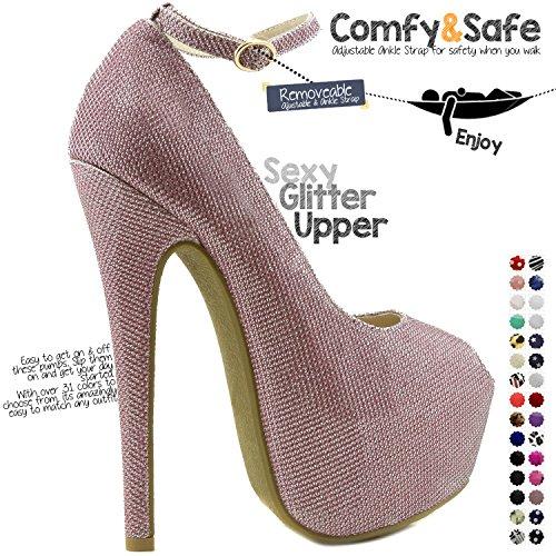 Dailyshoes Donna Estremo Alta Moda Cinturino Alla Caviglia Peep Toe Piattaforma Nascosta Sexy Stiletto Scarpe Col Tacco Alto Scarpe Rosa Glitter