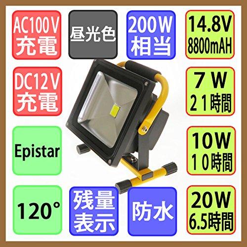 【1年間保証付】 充電式LED投光器 防水仕様 昼光色 20W 200W相当 6.5時間長時間型 強弱切替可能 B00ENTTPNM 13800  本体:黒 ハンドル:黄色