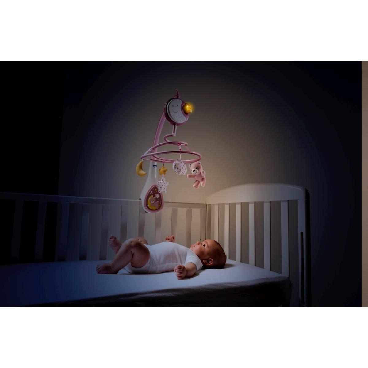 Chicco Next2Dreams - Móvil de cuna con melodías y sonidos blancos para cunas de colecho y madera, color rosa: Amazon.es: Bebé