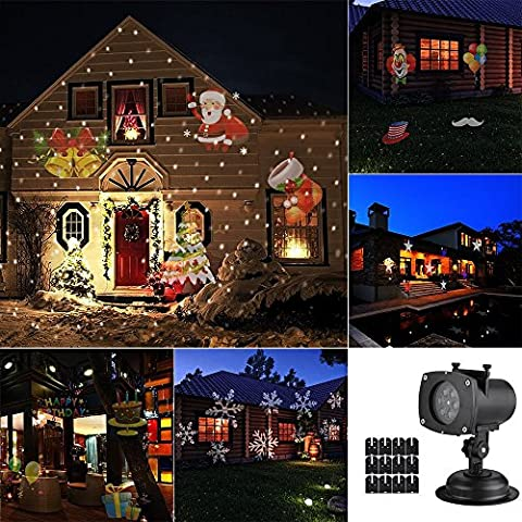 DAXGD Projector Lamp 12 Colorful Patterns 12 Replaceable Lens Waterproof Spotlight Landscape Lamp for Christmas Valentine's Day Halloween Holiday Birthday Party Wedding Garden Decoration