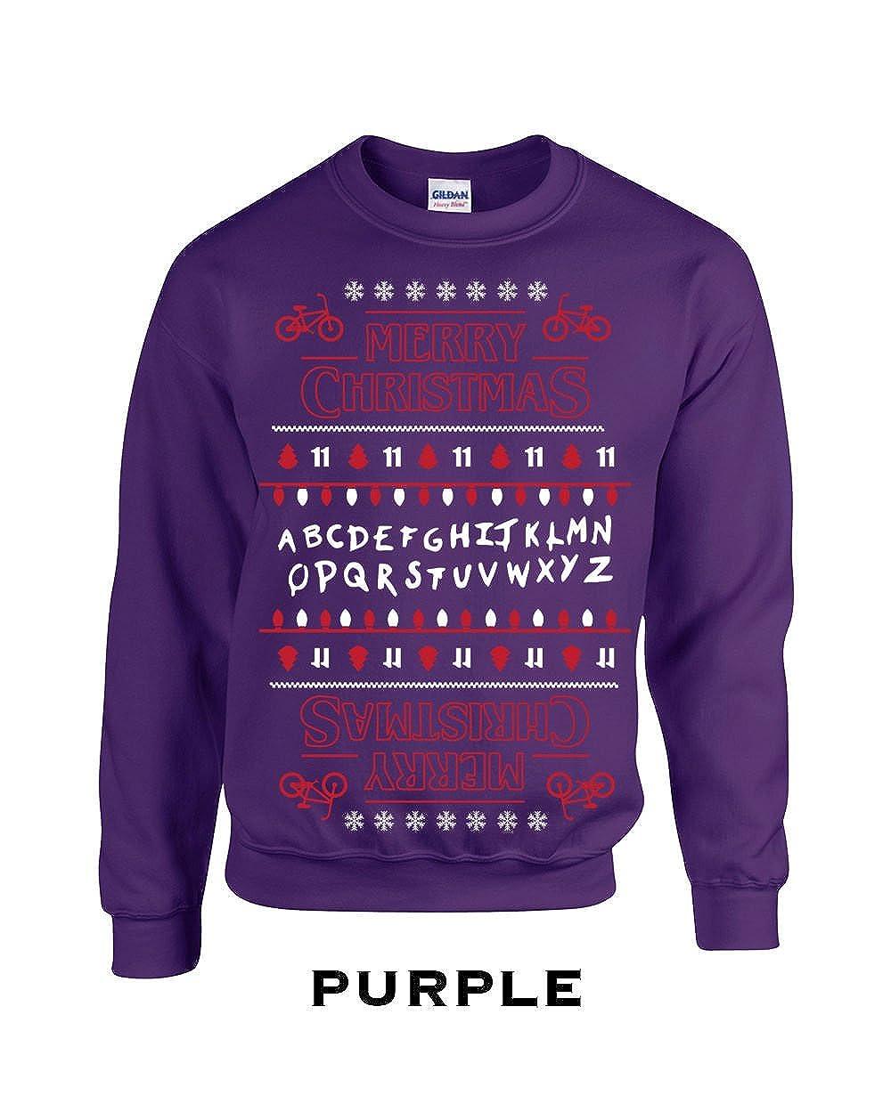 Swaffy Tees 640 Merry Christmas Upside Down Funny Adult Crew Sweatshirt