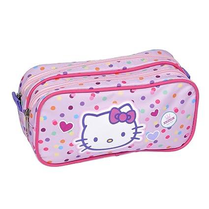 Estuche rectangular Hello Kitty 2 compartimentos rosa ...