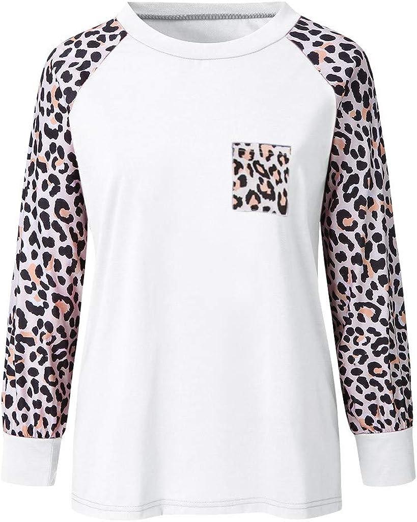 Meikosks Womens Leopard Long Sleeve Pocket T Shirt Round Neck Blouses Cute Tops Plus Size Tunic