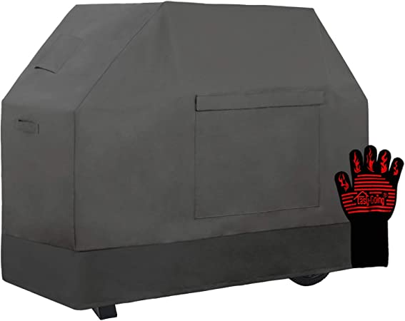 Easy-Going 100% Waterproof Gas Grill Cover 58 inch, Heavy Duty Dual-Color BBQ Cover with Grilling Gloves, Windproof and Weatherproof (Gray/Dark Gray)