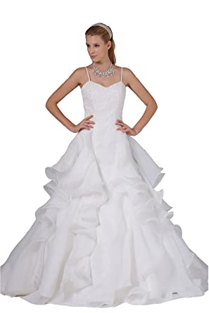 Angel Formal Dresses White Sleeveless Beaded Satin Wedding Dresses(2,Ivory)
