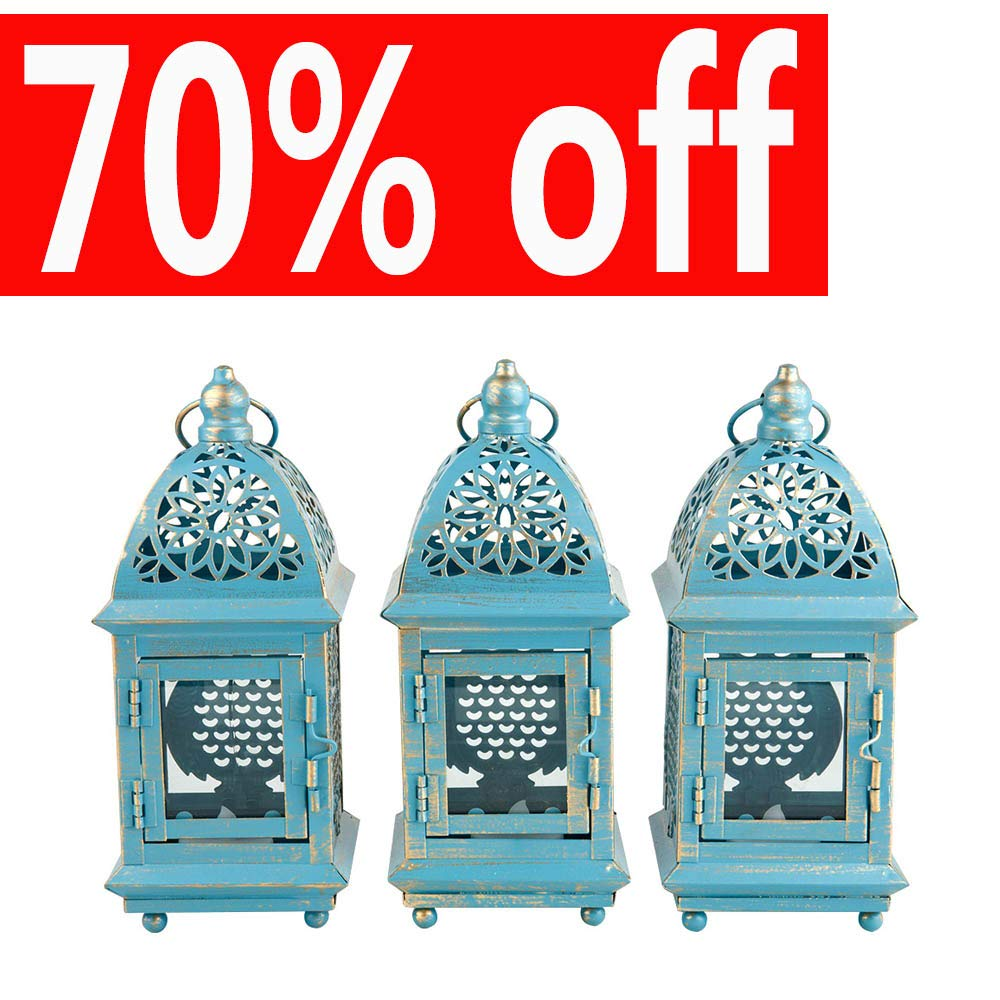 AHDECOR Christmas Candle Lanterns with LED Tea Light-Vintage Owl Metal Lantern for Indoor Outdoor Use-Set of 3 FD171031