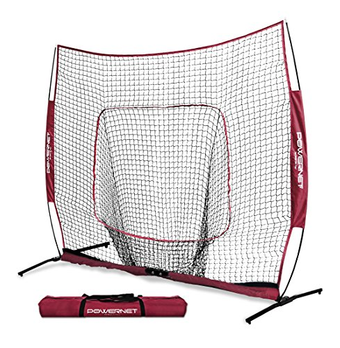 7' Square Frame - PowerNet 7x7 PRO Net with One Piece Frame (Maroon) | Baseball Softball Practice Net | Training Aid for Hitting Pitching Batting Fielding Portable Backstop | Bow Style Frame | Non-Tip Weighted Base