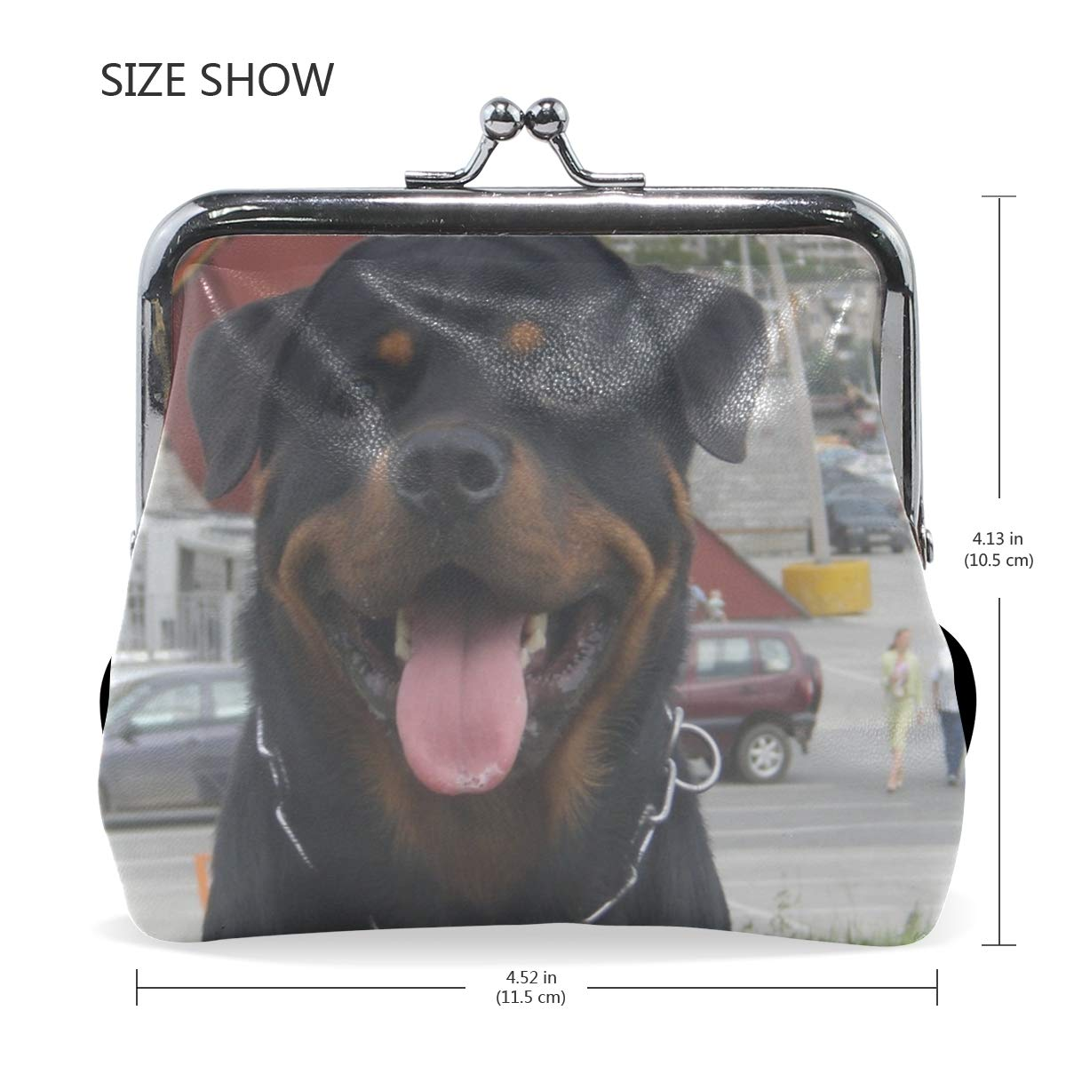 Rh Studio Coin Purse Clasp Closure Dog Face Protruding Tongue Rottweiler Print Wallet Exquisite Coin Pouch Girls Women Clutch Handbag Exquisite Gift