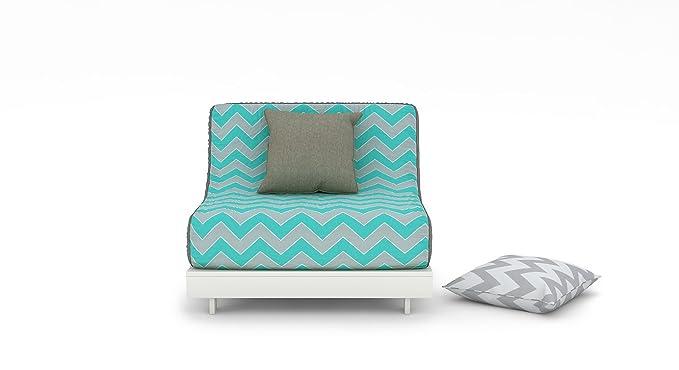Urban Ladder Finn Floor Folding Adjustable Single Seater Sofa cum Bed (Nautical Herringbone)