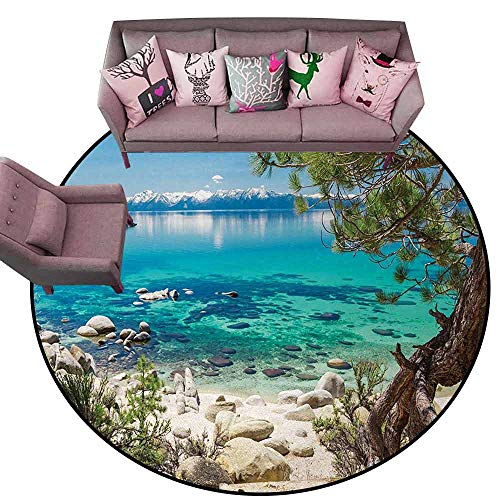(Kitchen Mat Nature,Lake Tahoe Snowy Mountain Reflection on Clear Water Rocky Shore View,Light Blue Green Eggshell Diameter 66