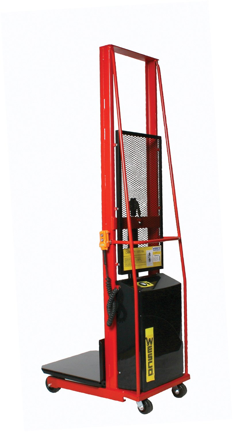 Wesco Industrial Products 261024 Platform Model Battery-Powered Stacker, 1000-lb. Load Capacity, 80'' Lift Height, 36'' L x 25.5'' W x 92'' H