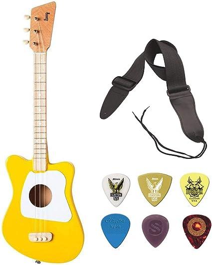 Loog - Guitarra acústica de 3 cuerdas, color amarillo con correa ...