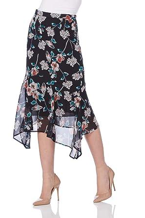 cc7bcd66ef03b Roman Originals Women Floral Chiffon Skirt - Ladies Dipped Hanky Hem  Ruffles Midi Length Holiday Evening Party Vintage Winter Long Wrap Skirts  Black  ...