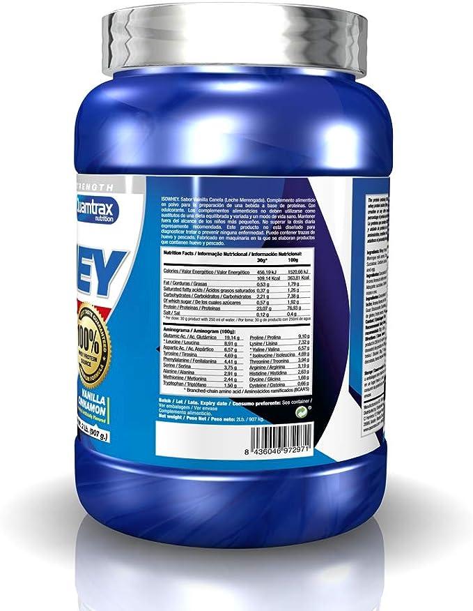 Quamtrax Proteina Iso whey sabor leche merengada (canela y vainilla) -907 gr 30 servicios