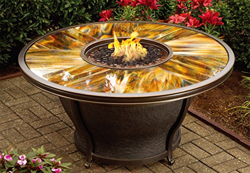 Oakland Living Moonlight Round Gas Firepit Table With