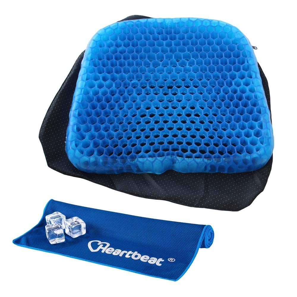 Heartbeat Egg Sitter Seat Cushion with Non-Slip Cover, Breathable Honeycomb Design Absorbs Pressure Points and Evaporative Cooling Towel (blue) Heartbeat Co .Ltd