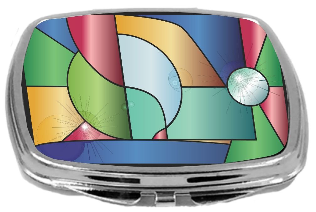 Rikki Knight Stained Glass Window with Reflections Design Compact Mirror, 17 Ounce