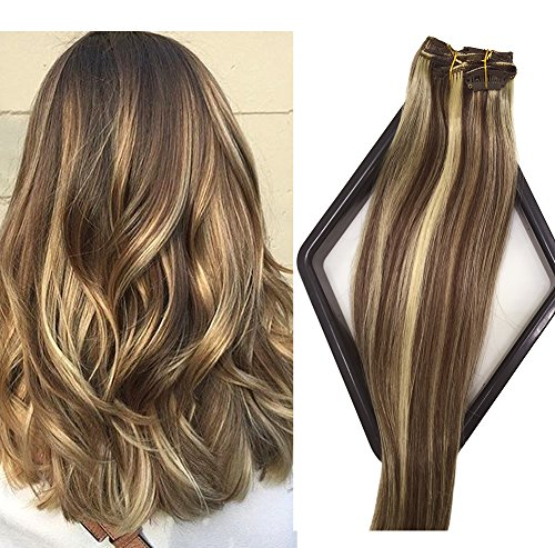 Labetti Clip in Human Hair Extensions 7 Pieces Per Set Medium Brown with Blonde Highlights Silky Straight Soft Weft Remy Hair (20 Inches, $4-613)