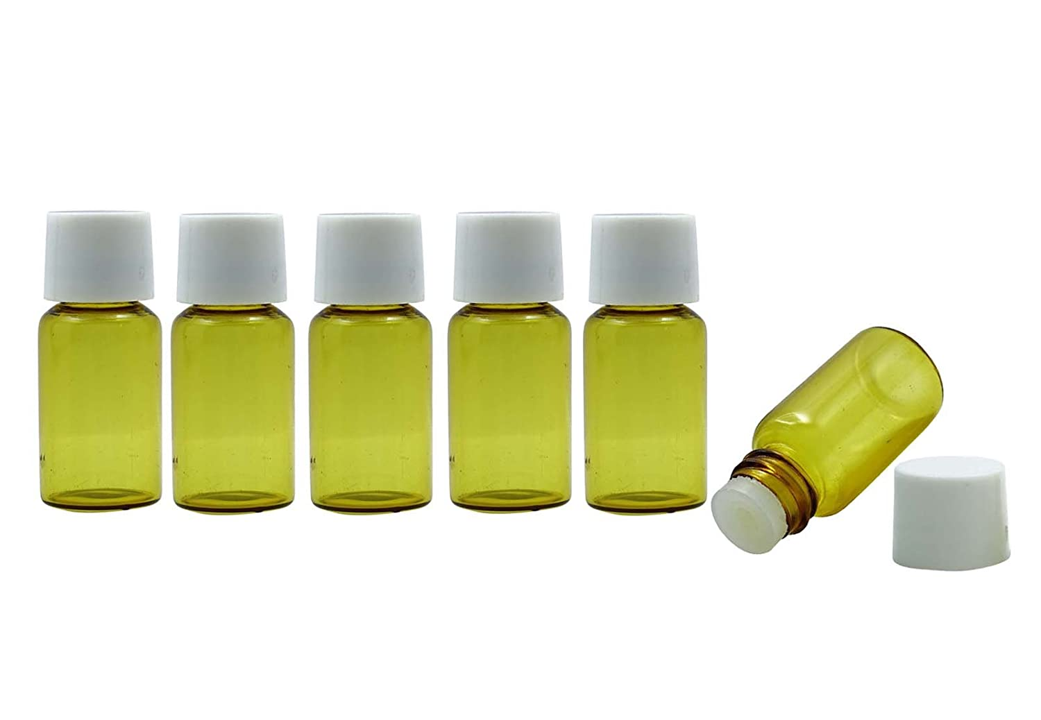 6 Pcs Glass Roll-on Empty Bottle For Essential Oil With White Cap Aromatherapy Bottles 7 ml MT Bottles & Jars