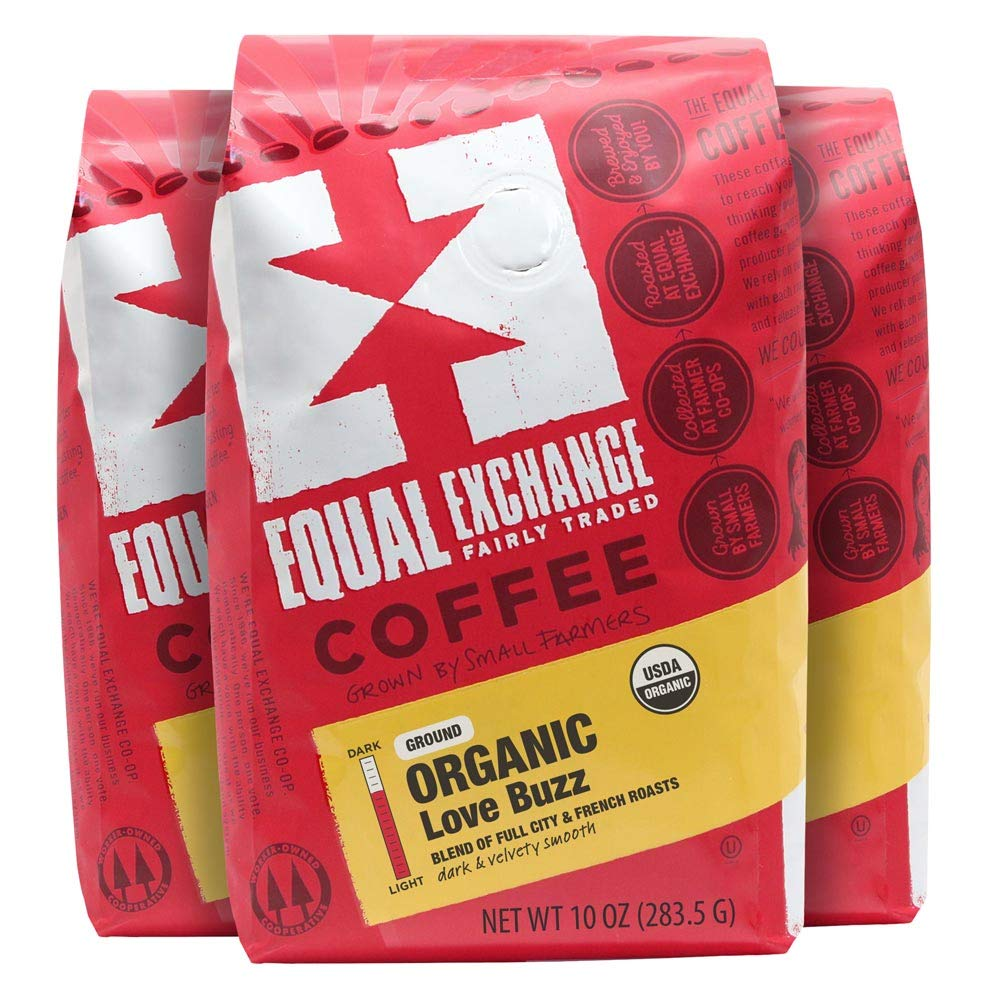 Equal Exchange Organic Ground Coffee, Love Buzz, 10-Ounce Bag (Pack of 3)