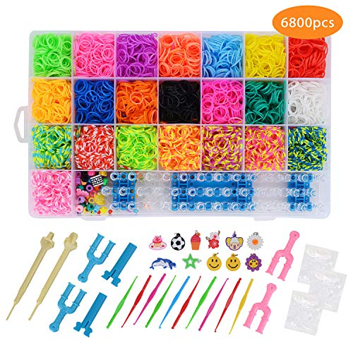 6800+ Rainbow Rubber Bands Refill Bracelet Making Kit,22 Colors,50 Beads,100 S Buckles,1 Large Braid,4 U-Shaped Slingshots,10 Small Crochet,10 Small Pendants,2 Plastic Crochet and 1 Storage Box