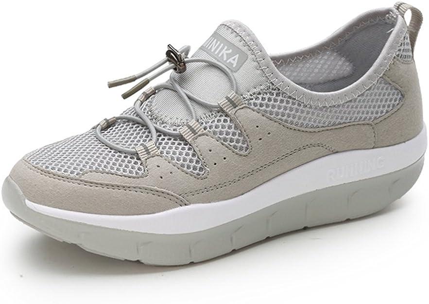 LFEU Zapatillas de Cuña Tacón para Madre Burbuja de Aire Cordón Elástico Viajes Tendencia Antideslizante 35-40(Recomendar Tamaño Uno Más): Amazon.es: Zapatos y complementos