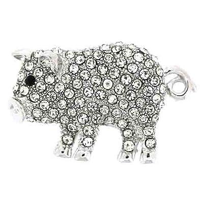 PYNK Jewellery Broche Cristal Swarovski Transparent Cochon avec Queue en  Tire,Bouchon