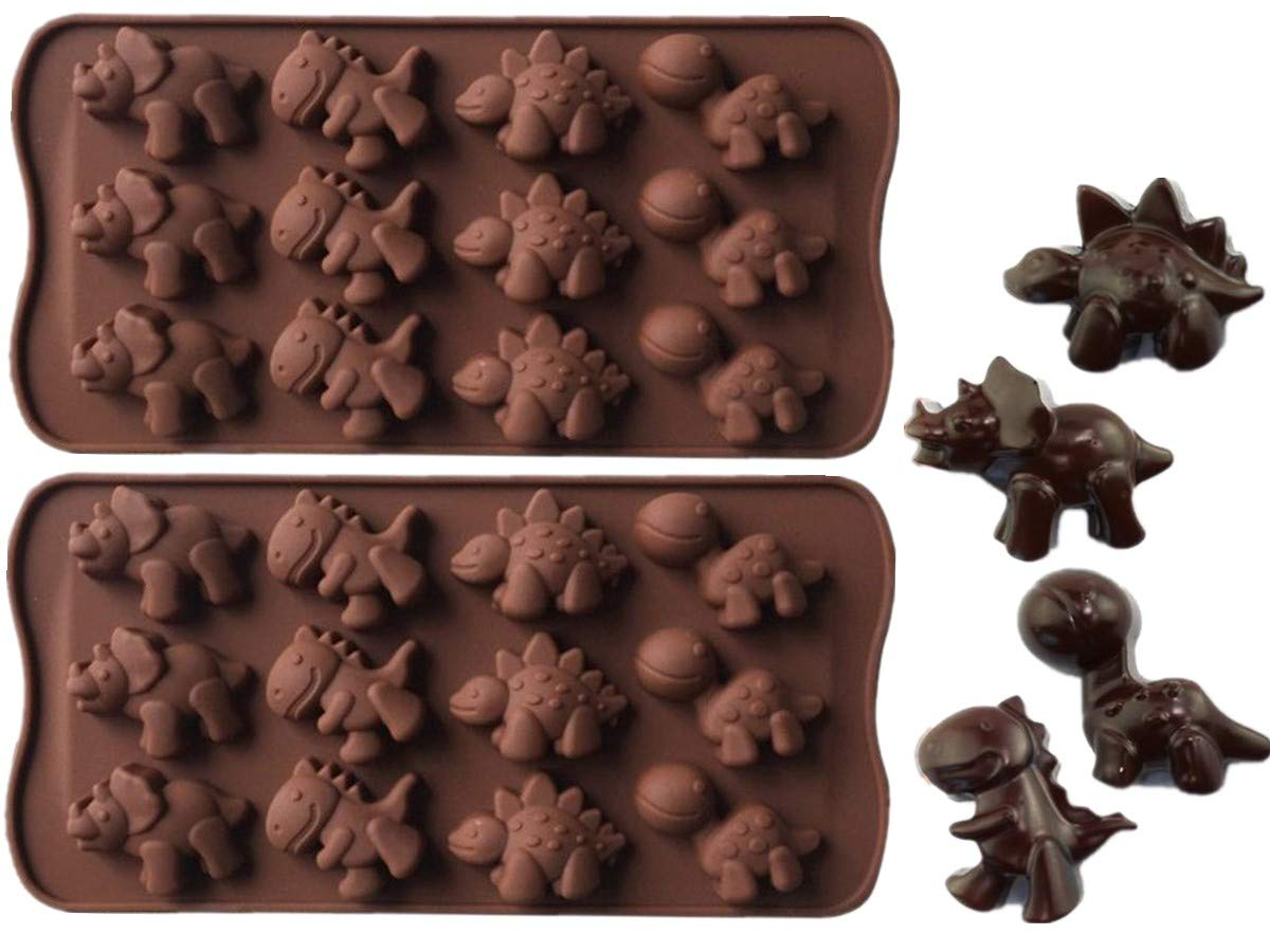 2 Pack Dinosaur Molds, Silicone Molds, for Chocolate Candy Fondant Jell-o