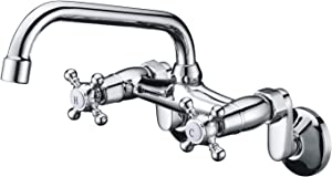 """Sumerain Wall Mount Kitchen Faucets, 2 Cross Handles Chrome Finish,3"""" to 9"""" Adjustable Spread"""