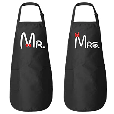 ZXP Cartoon Mr. - Mrs. Butcher Apron Couple Aprons Wedding Engagement Valentines Day Honeymoon Gift for Couple T Shirt - One Size