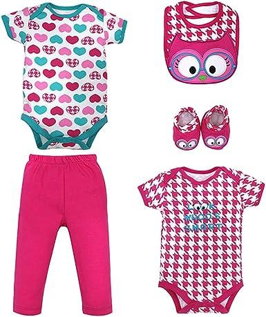 LONMEI Body Bebés Niñas de 100% Algodón - Bodies Manga Larga & Pantalones & Babero Conjunto de Ropa de Recién Nacido para 0-12 Meses: Amazon.es: Ropa y accesorios