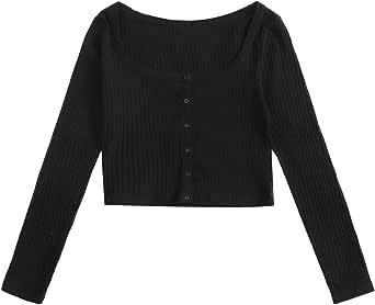 SheIn Women's Scoop Neck Long Sleeve Button Rib Knit Crop Tops T Shirts
