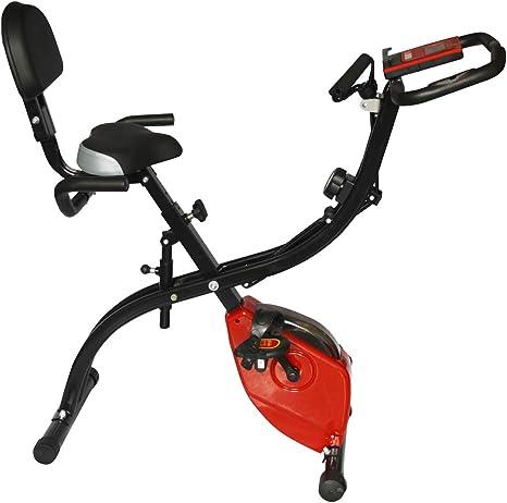 HLeoz Bicicleta Estática Plegable, Bicicleta Estática con Pulsometro Plegable Ordenador de Entrenamiento Resistencia Regulable MAX 120 kg de Carga con un cordón: Amazon.es: Deportes y aire libre