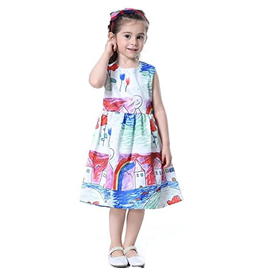 Franterd Baby Girls Clothes Dress Children Infant Kids Cartoon Floral Print  Casual Princess Dress Beach Mini ebbea1815