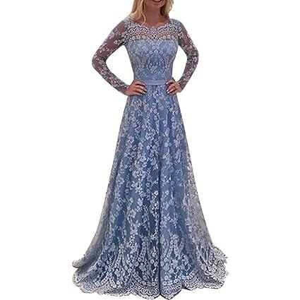 Vestido largo de fiesta elegante vintage de encaje hueco profundo sin espalda Swing vestido para fiesta