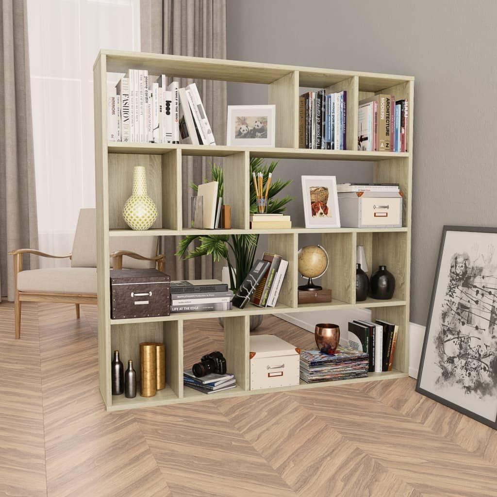 vidaXL Room Divider//Book Cabinet Privacy Screen Panel Seperator Book Stand Bookshelf Rack Home Office File Cabinet Furniture Grey Chipboard