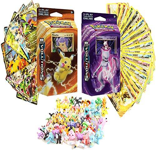 Pokemon XY Evolutions Theme Decks Featuring Pikachu and Mewtwo - FREE Random 6 Mini Figures and 1 EX or BREAK Evolution - Pokemon Evolution Set