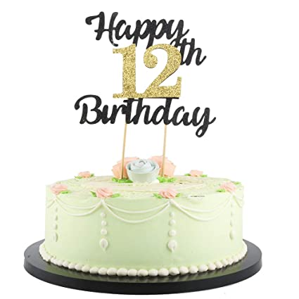 LVEUD Happy Birthday Cake Topper Black Font Golden Numbers 12th Birthday  Happy Cake Topper ,Birthday Party Decorations (12th)