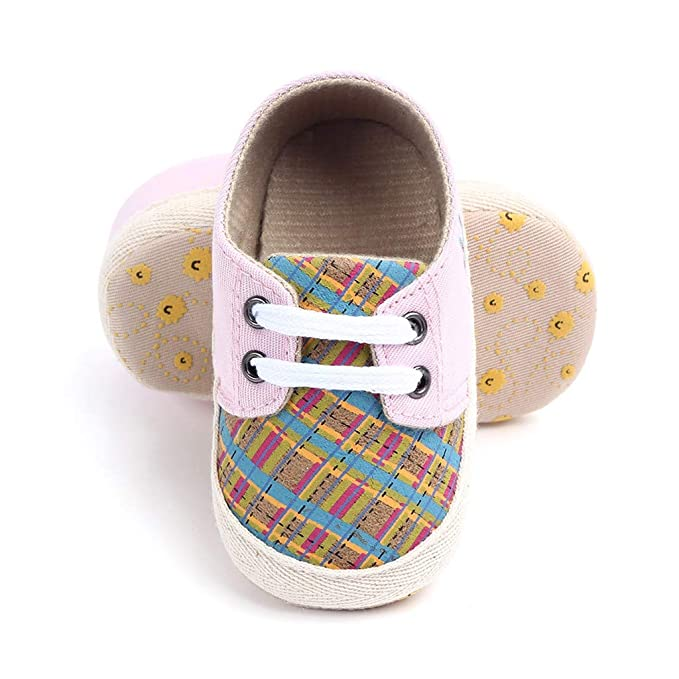 Yellow,12-18 Months NUWFOR Newborn Baby Candy Color Striped Mesh First Walkers Soft Sole Casual Shoes