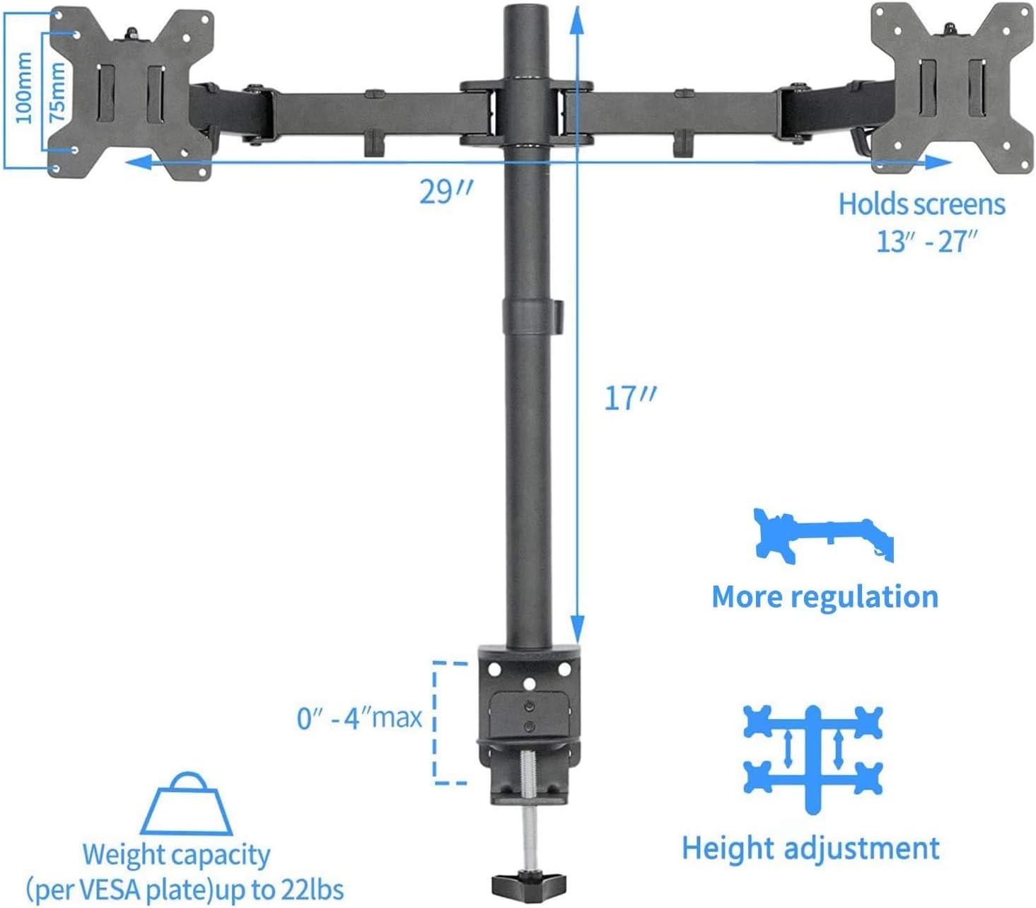 support de moniteur MAIDeSITe Support de moniteur pour 2 moniteurs de bureau inclinable /à 180/° orientable /à 360/° hauteur r/églable