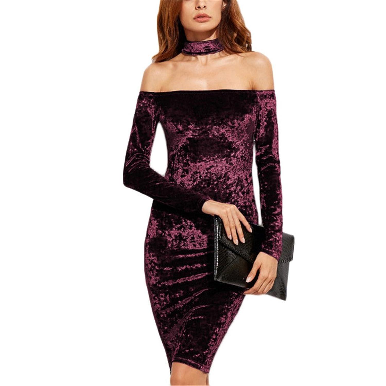 Womens Ladies Choker Off Shoulder Bodycon Dress Bardot Neck Midi Long Sleeve